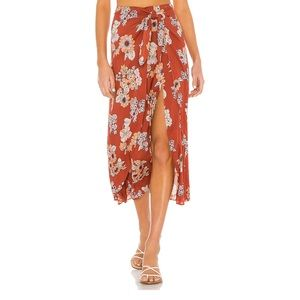 NWT! Free People Sunray Sarong Skirt in Pink Combo